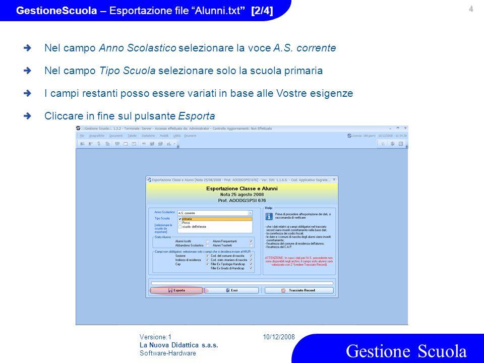 GestioneScuola – Esportazione file Alunni.txt [2/4]